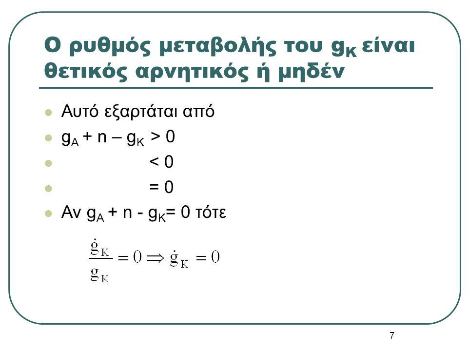 7 O ρυθμός μεταβολής του g K είναι θετικός αρνητικός ή μηδέν Αυτό εξαρτάται από g A + n – g K > 0 < 0 = 0 Αν g A + n - g K = 0 τότε