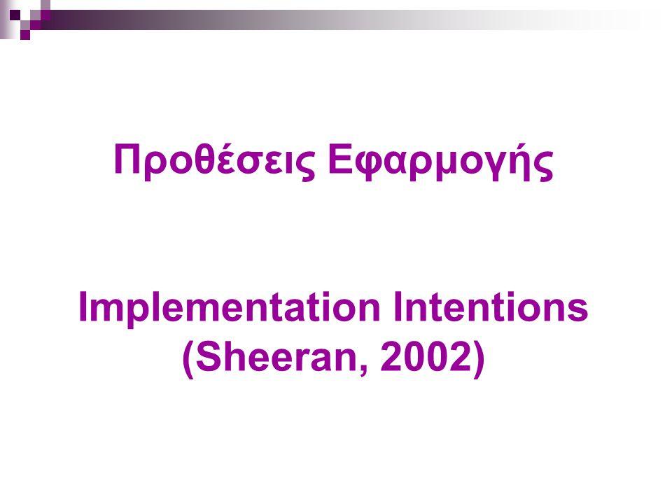 Προθέσεις Εφαρμογής Implementation Intentions (Sheeran, 2002)