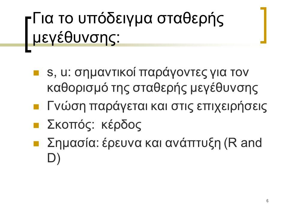 6 Για το υπόδειγμα σταθερής μεγέθυνσης: s, u: σημαντικοί παράγοντες για τον καθορισμό της σταθερής μεγέθυνσης Γνώση παράγεται και στις επιχειρήσεις Σκοπός: κέρδος Σημασία: έρευνα και ανάπτυξη (R and D)