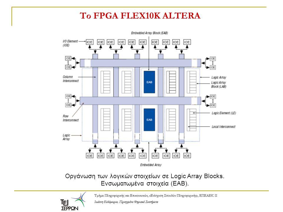 Το FPGA FLEX10K ALTERA Οργάνωση των λογικών στοιχείων σε Logic Array Blocks. Ενσωματωμένα στοιχεία (ΕΑΒ).