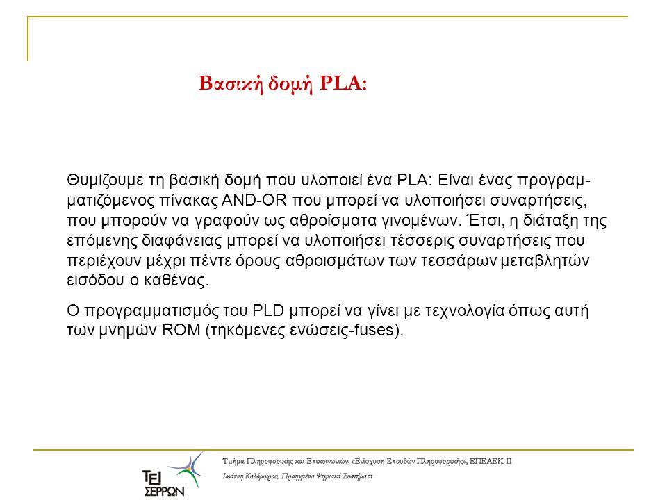 Βασική δομή PLA: Θυμίζουμε τη βασική δομή που υλοποιεί ένα PLA: Είναι ένας προγραμ- ματιζόμενος πίνακας AND-OR που μπορεί να υλοποιήσει συναρτήσεις, π