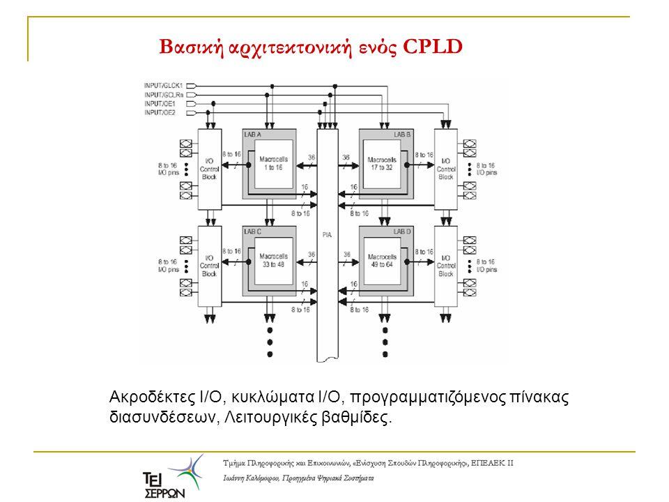 Βασική αρχιτεκτονική ενός CPLD Ακροδέκτες Ι/Ο, κυκλώματα Ι/Ο, προγραμματιζόμενος πίνακας διασυνδέσεων, Λειτουργικές βαθμίδες.