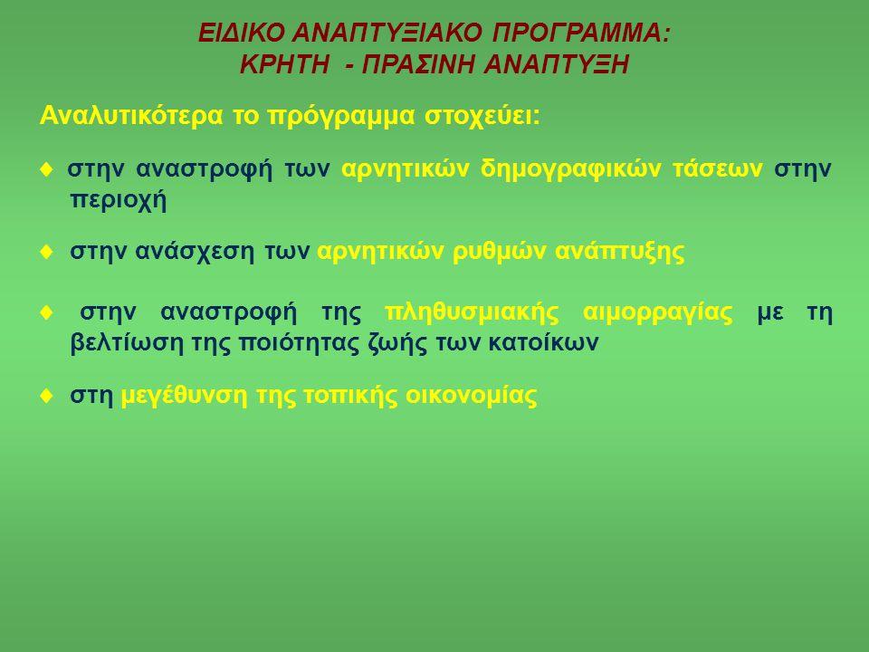 ΕΙΔΙΚΟ ΑΝΑΠΤΥΞΙΑΚΟ ΠΡΟΓΡΑΜΜΑ: ΚΡΗΤΗ - ΠΡΑΣΙΝΗ ΑΝΑΠΤΥΞΗ