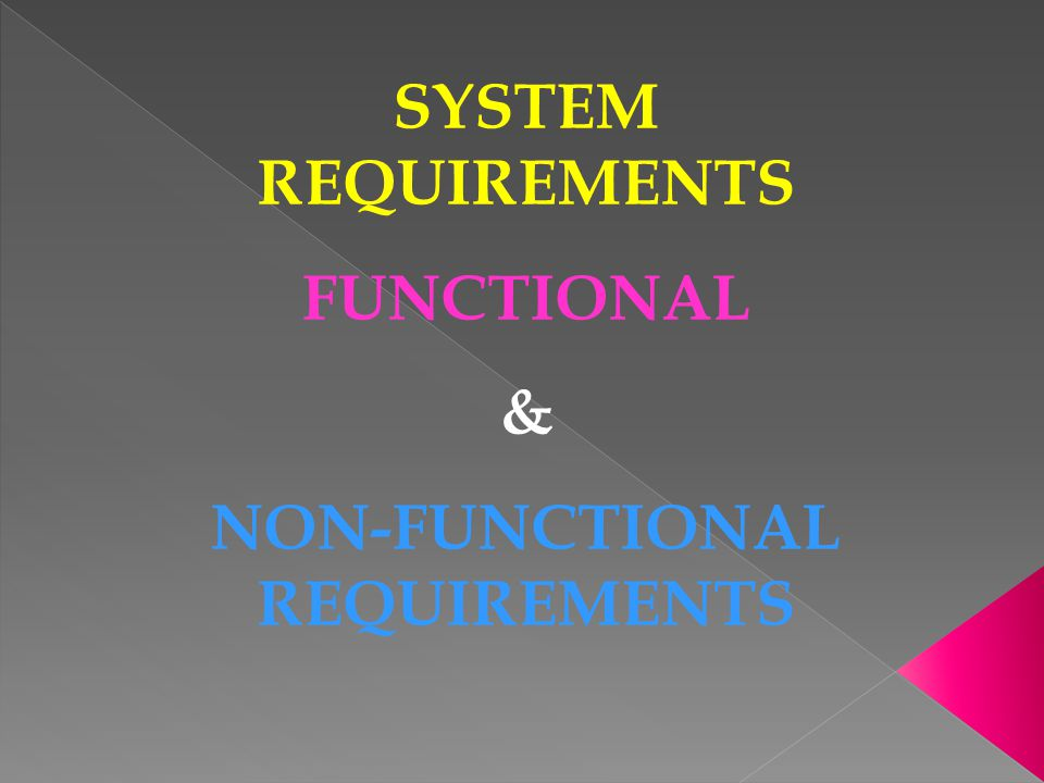 SYSTEM REQUIREMENTS FUNCTIONAL & NON-FUNCTIONAL REQUIREMENTS