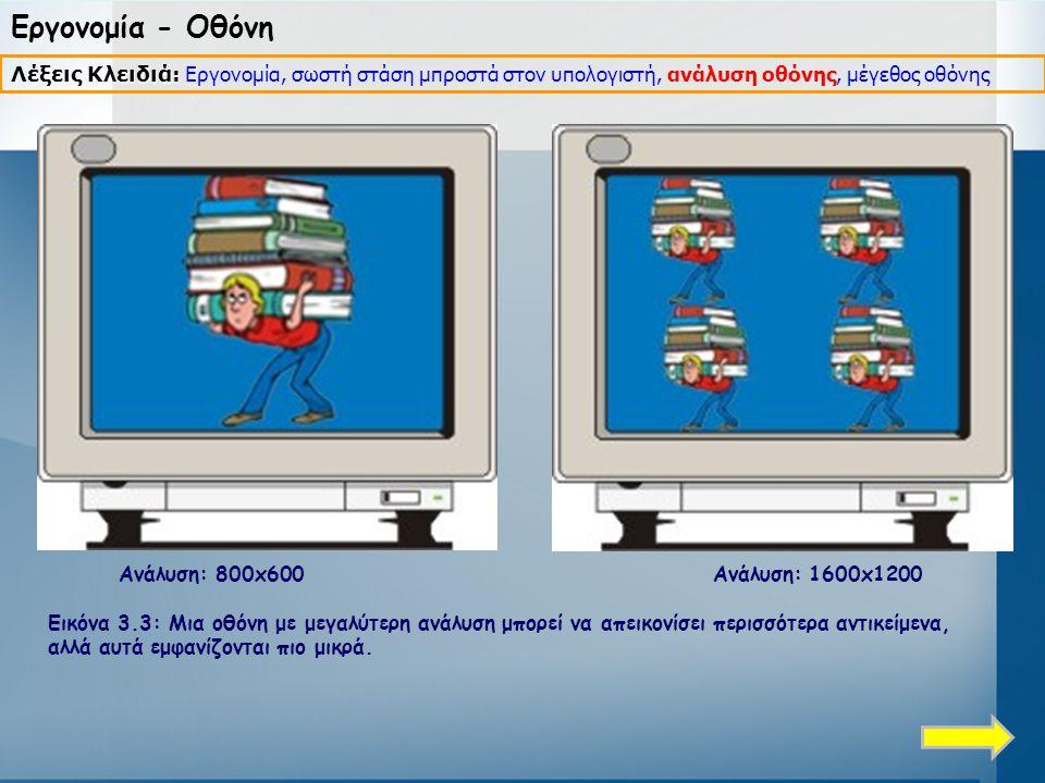 Εργονομία - Οθόνη Ανάλυση: 800x600 Ανάλυση: 1600x1200 Εικόνα 3.3: Μια οθόνη με μεγαλύτερη ανάλυση μπορεί να απεικονίσει περισσότερα αντικείμενα, αλλά