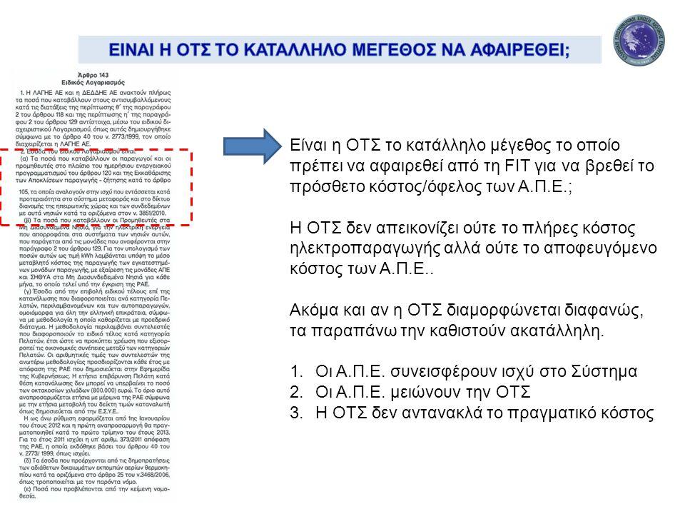 Είναι η ΟΤΣ το κατάλληλο μέγεθος το οποίο πρέπει να αφαιρεθεί από τη FIT για να βρεθεί το πρόσθετο κόστος/όφελος των Α.Π.Ε.; H OTΣ δεν απεικονίζει ούτε το πλήρες κόστος ηλεκτροπαραγωγής αλλά ούτε το αποφευγόμενο κόστος των Α.Π.Ε..