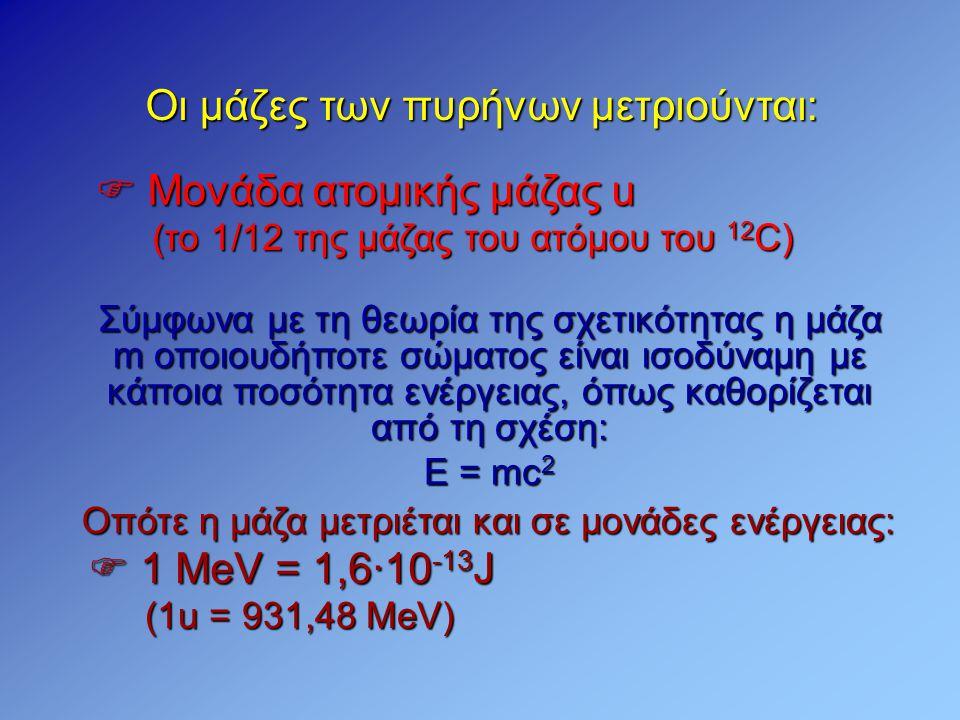 Οι μάζες των πυρήνων μετριούνται:  Μονάδα ατομικής μάζας u Σύμφωνα με τη θεωρία της σχετικότητας η μάζα m οποιουδήποτε σώματος είναι ισοδύναμη με κάπ