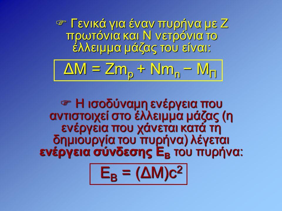  Γενικά για έναν πυρήνα με Ζ πρωτόνια και Ν νετρόνια το έλλειμμα μάζας του είναι: ΔΜ = Ζm p + Nm n − M Π  Η ισοδύναμη ενέργεια που αντιστοιχεί στο έ