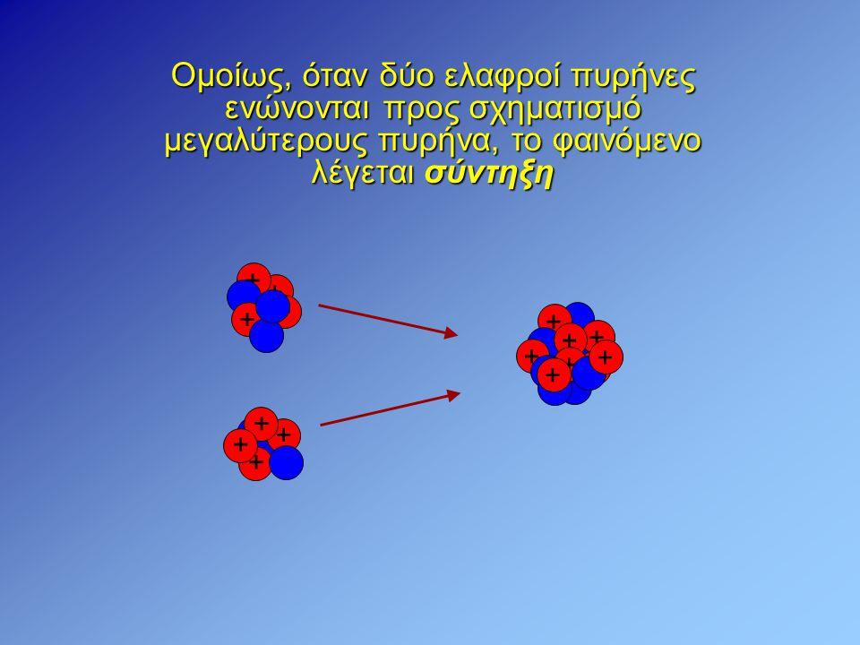 Ομοίως, όταν δύο ελαφροί πυρήνες ενώνονται προς σχηματισμό μεγαλύτερους πυρήνα, το φαινόμενο λέγεται σύντηξη + + + + + + + + + + + + + + + +