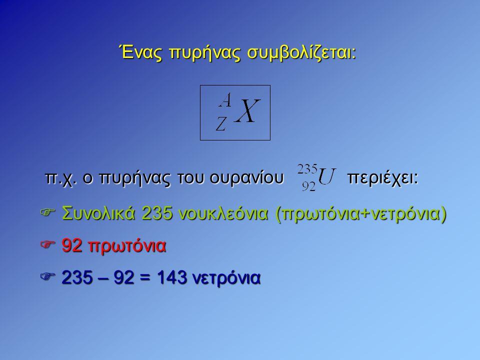 Ένας πυρήνας συμβολίζεται:  92 πρωτόνια  235 – 92 = 143 νετρόνια  Συνολικά 235 νουκλεόνια (πρωτόνια+νετρόνια) π.χ. ο πυρήνας του ουρανίου περιέχει: