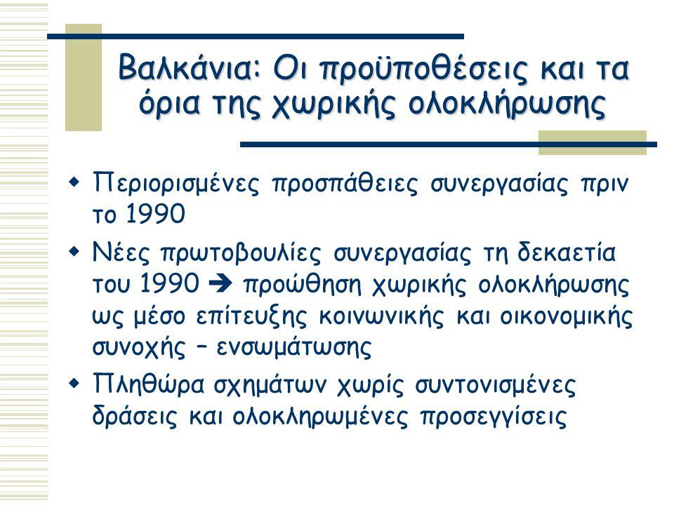 Βαλκάνια: Οι προϋποθέσεις και τα όρια της χωρικής ολοκλήρωσης  Περιορισμένες προσπάθειες συνεργασίας πριν το 1990  Νέες πρωτοβουλίες συνεργασίας τη