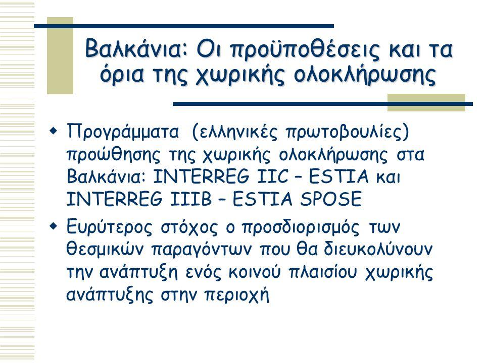 Βαλκάνια: Οι προϋποθέσεις και τα όρια της χωρικής ολοκλήρωσης  Προγράμματα (ελληνικές πρωτοβουλίες) προώθησης της χωρικής ολοκλήρωσης στα Βαλκάνια: INTERREG IIC – ESTIA και INTERREG IIIB – ESTIA SPOSE  Ευρύτερος στόχος ο προσδιορισμός των θεσμικών παραγόντων που θα διευκολύνουν την ανάπτυξη ενός κοινού πλαισίου χωρικής ανάπτυξης στην περιοχή