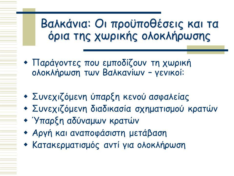 Βαλκάνια: Οι προϋποθέσεις και τα όρια της χωρικής ολοκλήρωσης  Παράγοντες που εμποδίζουν τη χωρική ολοκλήρωση των Βαλκανίων – γενικοί:  Συνεχιζόμενη ύπαρξη κενού ασφαλείας  Συνεχιζόμενη διαδικασία σχηματισμού κρατών  Ύπαρξη αδύναμων κρατών  Αργή και αναποφάσιστη μετάβαση  Κατακερματισμός αντί για ολοκλήρωση