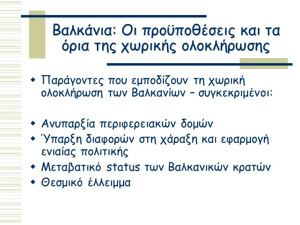 Βαλκάνια: Οι προϋποθέσεις και τα όρια της χωρικής ολοκλήρωσης  Παράγοντες που εμποδίζουν τη χωρική ολοκλήρωση των Βαλκανίων – συγκεκριμένοι:  Ανυπαρξία περιφερειακών δομών  Ύπαρξη διαφορών στη χάραξη και εφαρμογή ενιαίας πολιτικής  Μεταβατικό status των Βαλκανικών κρατών  Θεσμικό έλλειμμα
