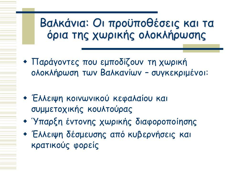 Βαλκάνια: Οι προϋποθέσεις και τα όρια της χωρικής ολοκλήρωσης  Παράγοντες που εμποδίζουν τη χωρική ολοκλήρωση των Βαλκανίων – συγκεκριμένοι:  Έλλειψη κοινωνικού κεφαλαίου και συμμετοχικής κουλτούρας  Ύπαρξη έντονης χωρικής διαφοροποίησης  Έλλειψη δέσμευσης από κυβερνήσεις και κρατικούς φορείς