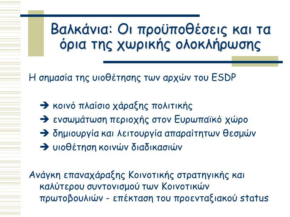 Βαλκάνια: Οι προϋποθέσεις και τα όρια της χωρικής ολοκλήρωσης Η σημασία της υιοθέτησης των αρχών του ESDP  κοινό πλαίσιο χάραξης πολιτικής  ενσωμάτωση περιοχής στον Ευρωπαϊκό χώρο  δημιουργία και λειτουργία απαραίτητων θεσμών  υιοθέτηση κοινών διαδικασιών Ανάγκη επαναχάραξης Κοινοτικής στρατηγικής και καλύτερου συντονισμού των Κοινοτικών πρωτοβουλιών - επέκταση του προενταξιακού status