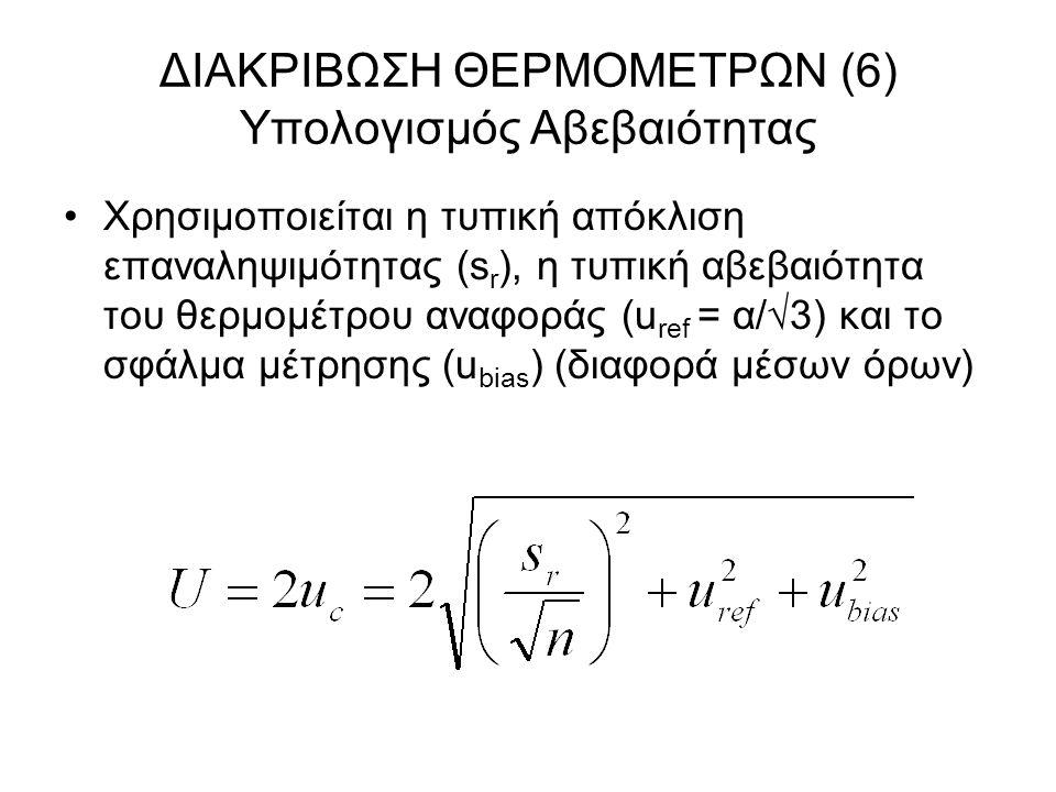 ΔΙΑΚΡΙΒΩΣΗ ΘΕΡΜΟΜΕΤΡΩΝ (6) Υπολογισμός Αβεβαιότητας Χρησιμοποιείται η τυπική απόκλιση επαναληψιμότητας (s r ), η τυπική αβεβαιότητα του θερμομέτρου αν