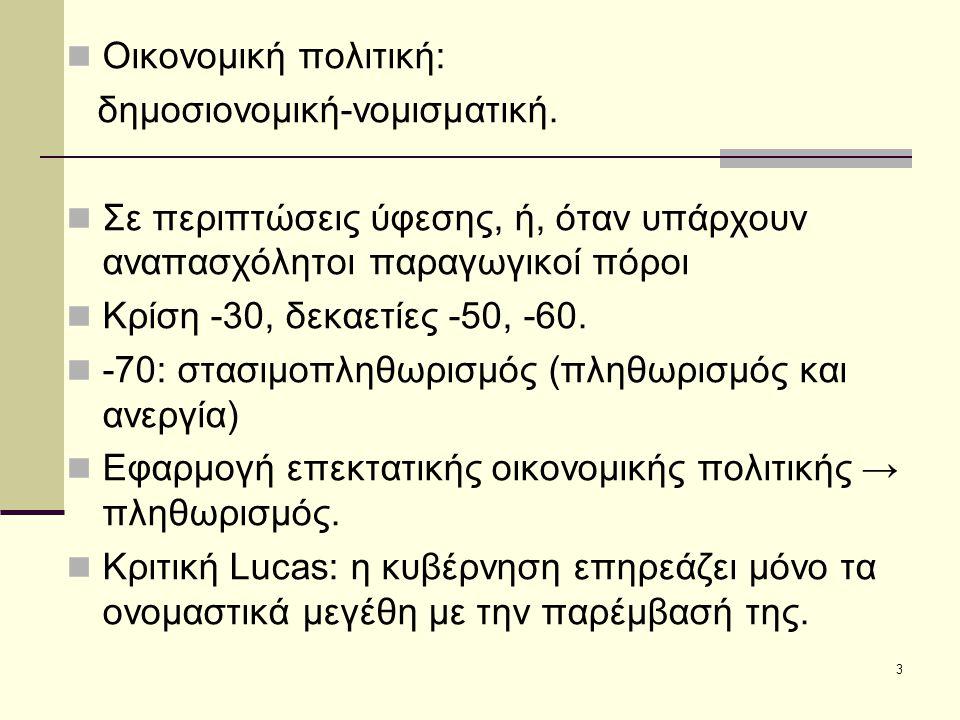 3 Οικονομική πολιτική: δημοσιονομική-νομισματική.