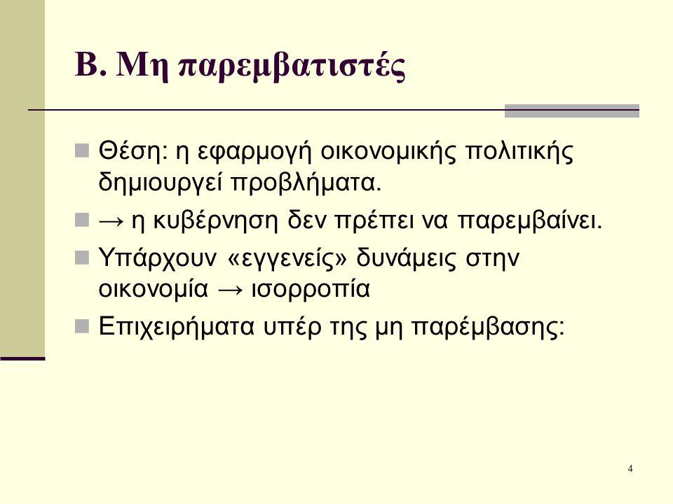 5 1.Ορθολογικές προσδοκίες Η κυβέρνηση επηρεάζει μόνο τα ονομαστικά μεγέθη, όχι τα πραγματικά.