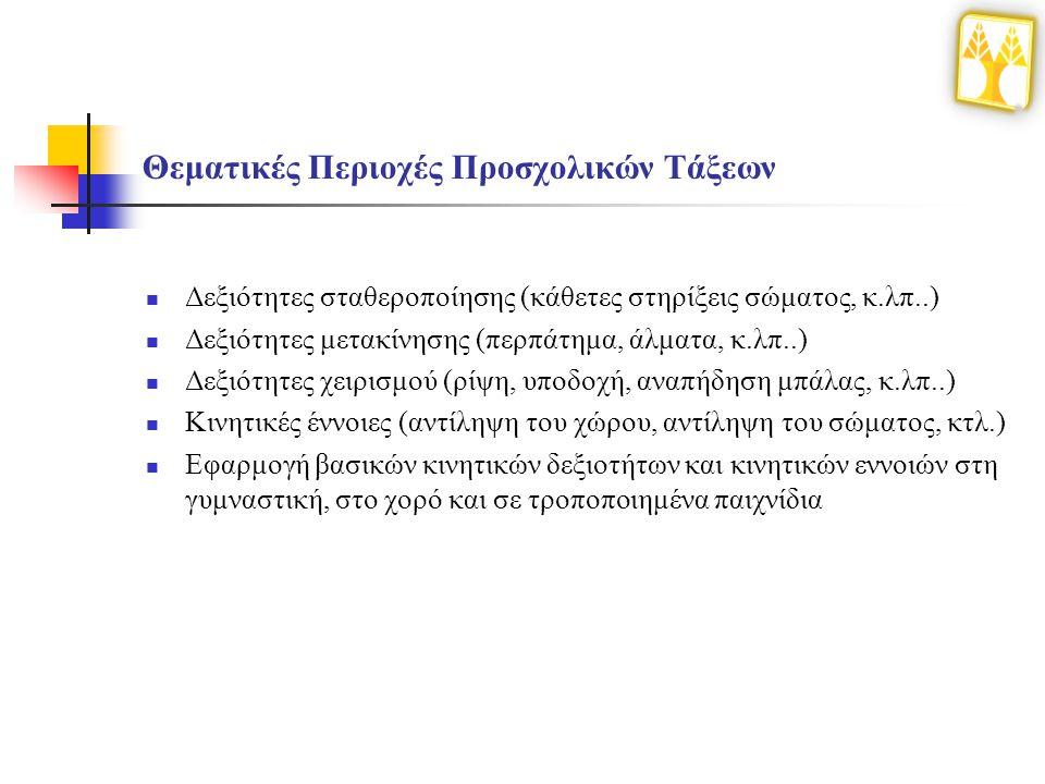 Θεματικές Περιοχές Προσχολικών Τάξεων Δεξιότητες σταθεροποίησης (κάθετες στηρίξεις σώματος, κ.λπ..) Δεξιότητες μετακίνησης (περπάτημα, άλματα, κ.λπ..) Δεξιότητες χειρισμού (ρίψη, υποδοχή, αναπήδηση μπάλας, κ.λπ..) Κινητικές έννοιες (αντίληψη του χώρου, αντίληψη του σώματος, κτλ.) Εφαρμογή βασικών κινητικών δεξιοτήτων και κινητικών εννοιών στη γυμναστική, στο χορό και σε τροποποιημένα παιχνίδια