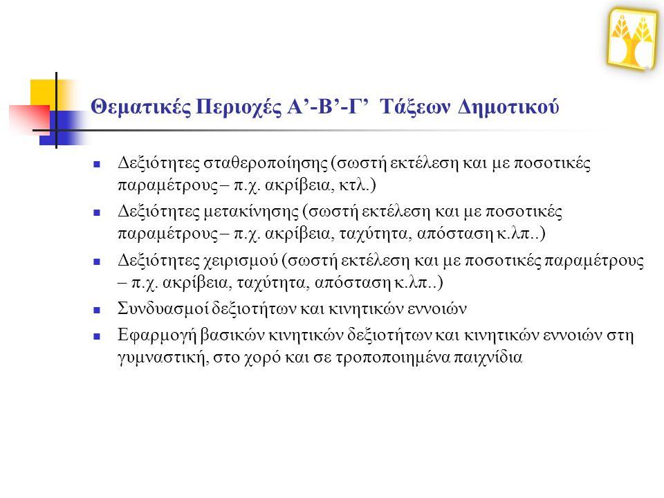 Θεματικές Περιοχές Α'-Β'-Γ' Τάξεων Δημοτικού Δεξιότητες σταθεροποίησης (σωστή εκτέλεση και με ποσοτικές παραμέτρους – π.χ. ακρίβεια, κτλ.) Δεξιότητες