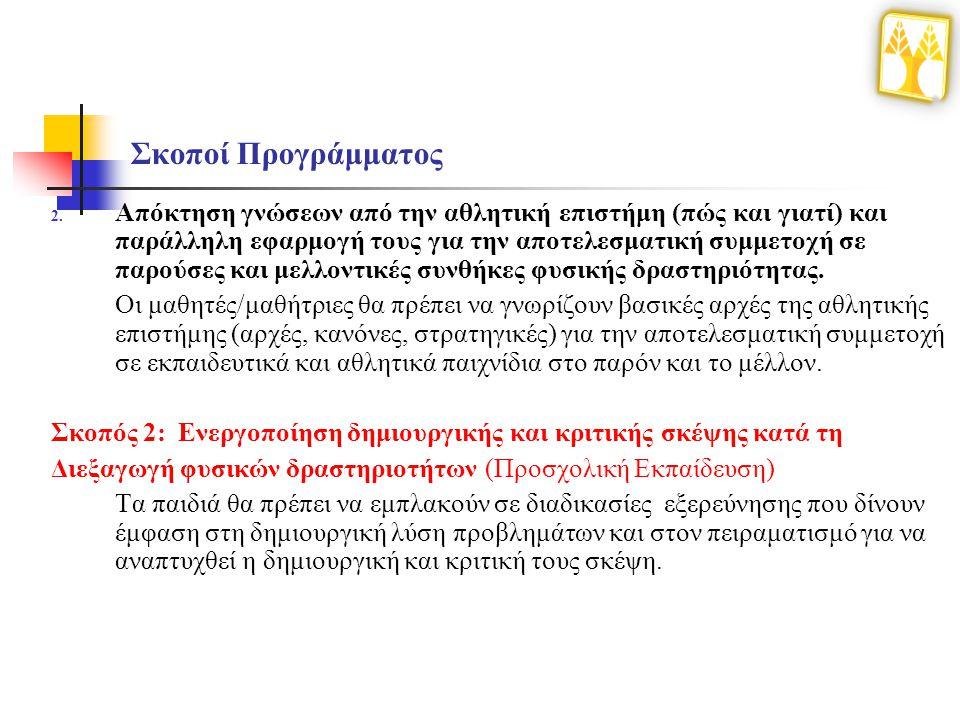 Θεματικές Περιοχές Δ΄- Ε΄- ΣΤ΄ Τάξεων Δημοτικού Δεξιότητες ομαδικών αθλημάτων Δεξιότητες στίβου Δεξιότητες φυσικής κατάστασης (δύναμη, αντοχή κ.λπ..) Δεξιότητες σε ρόδες (ποδηλασία, ρόλερ, σκέιτ, πατίνι κ.λπ..) Δεξιότητες ρακέτας (τένις, επιτραπέζια αντισφαίριση, αντιπτέριση (badminton), ρακέτες θαλάσσης, σκουός/ράκετμπωλ κ.λπ..) Δεξιότητες ρυθμικής-γυμναστικής -χορού (παραδοσιακοί, μοντέρνοι, hip-hop, break-dance, Latin, aerobic dance κ.λπ..) Φυσικές δραστηριότητες αναψυχής (προσανατολισμό, κυνήγι θησαυρού, τοξοβολία κ.λπ..) Δεξιότητες πολεμικών τεχνών (ασιατικές, πάλη κ.λπ..) Δεξιότητες βουνού (ορειβασία, χιονοδρομία, αναρρίχηση κ.λπ..) Δεξιότητες σε νερό (κολύμβηση, υδατοσφαίριση, aqua aerobic, κωπηλασία, ιστιοπλοΐα κ.λπ..)