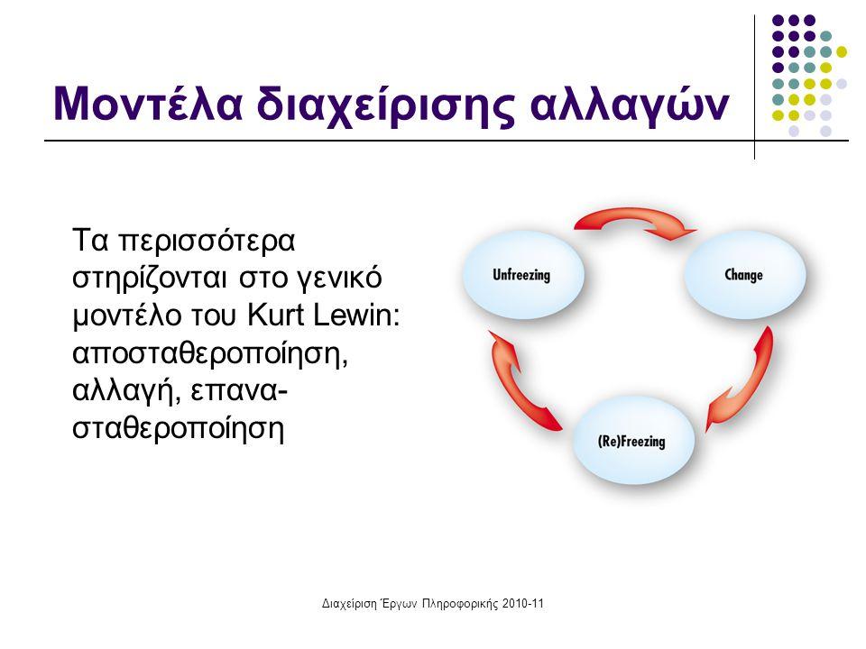 Διαχείριση Έργων Πληροφορικής 2010-11 Μοντέλα διαχείρισης αλλαγών Τα περισσότερα στηρίζονται στο γενικό μοντέλο του Kurt Lewin: αποσταθεροποίηση, αλλα