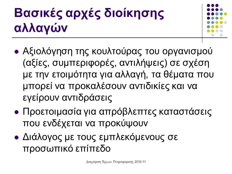 Διαχείριση Έργων Πληροφορικής 2010-11 Βασικές αρχές διοίκησης αλλαγών Αξιολόγηση της κουλτούρας του οργανισμού (αξίες, συμπεριφορές, αντιλήψεις) σε σχ