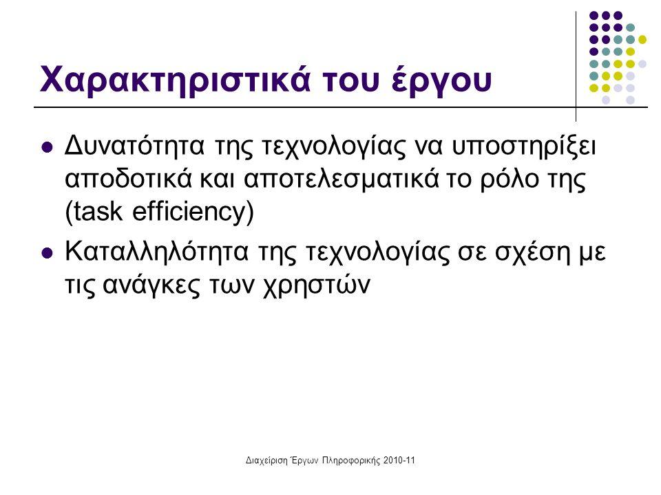 Διαχείριση Έργων Πληροφορικής 2010-11 Χαρακτηριστικά του έργου Δυνατότητα της τεχνολογίας να υποστηρίξει αποδοτικά και αποτελεσματικά το ρόλο της (tas