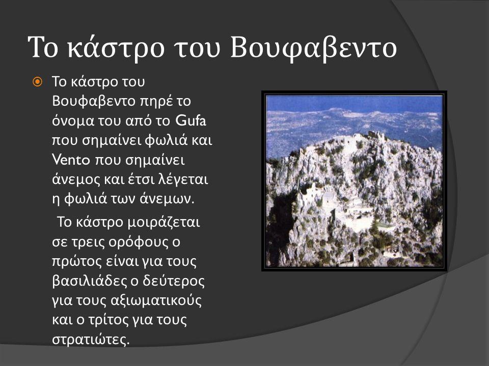 Το κάστρο του Βουφαβεντο  Το κάστρο του Βουφαβεντο πηρέ το όνομα του από το Gufa που σημαίνει φωλιά και Vento που σημαίνει άνεμος και έτσι λέγεται η