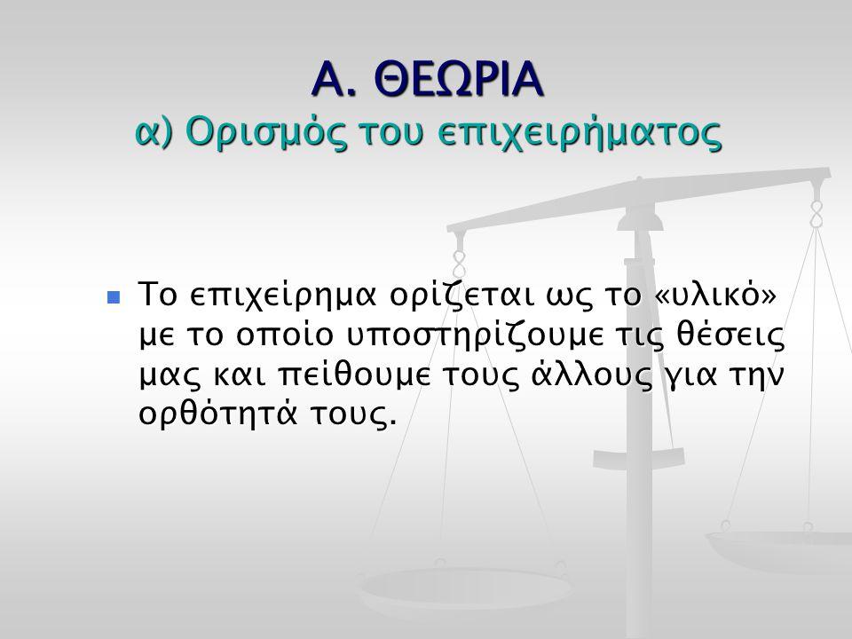 Α. ΘΕΩΡΙΑ α) Ορισμός του επιχειρήματος Το επιχείρημα ορίζεται ως το «υλικό» με το οποίο υποστηρίζουμε τις θέσεις μας και πείθουμε τους άλλους για την
