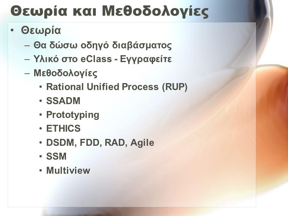 Θεωρία και Μεθοδολογίες Θεωρία –Θα δώσω οδηγό διαβάσματος –Υλικό στο eClass - Εγγραφείτε –Μεθοδολογίες Rational Unified Process (RUP) SSADM Prototyping ETHICS DSDM, FDD, RAD, Agile SSM Multiview