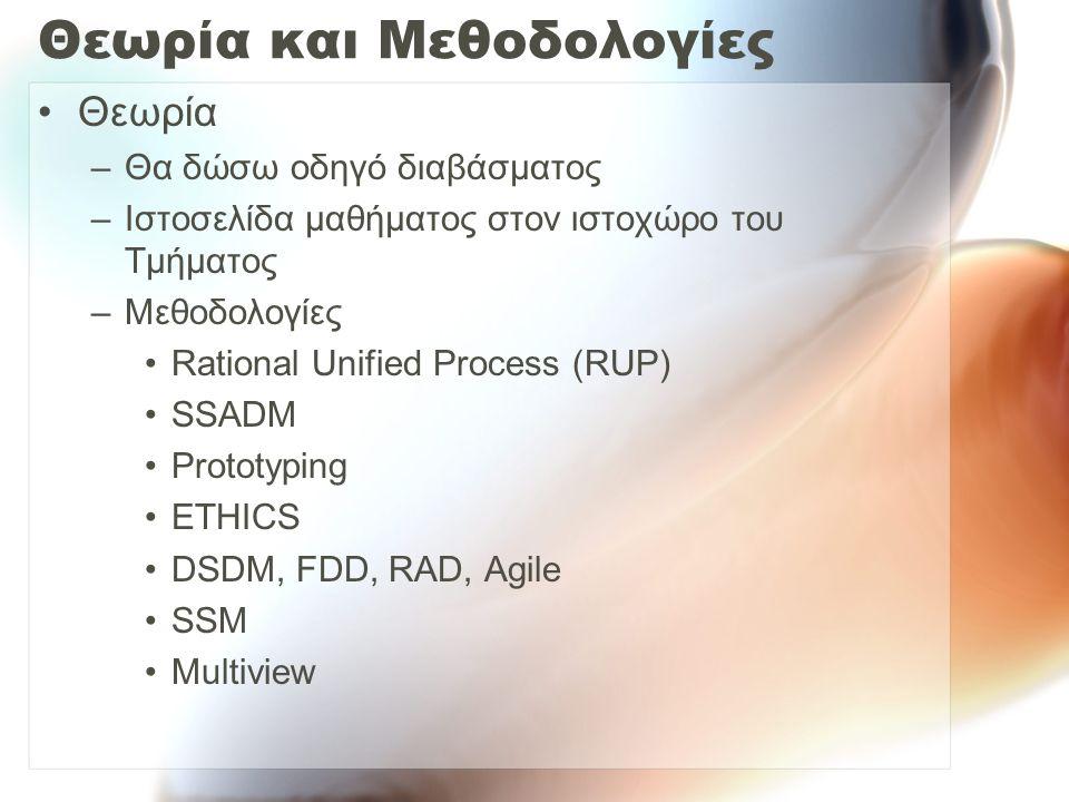 Θεωρία και Μεθοδολογίες Θεωρία –Θα δώσω οδηγό διαβάσματος –Ιστοσελίδα μαθήματος στον ιστοχώρο του Τμήματος –Μεθοδολογίες Rational Unified Process (RUP) SSADM Prototyping ETHICS DSDM, FDD, RAD, Agile SSM Multiview