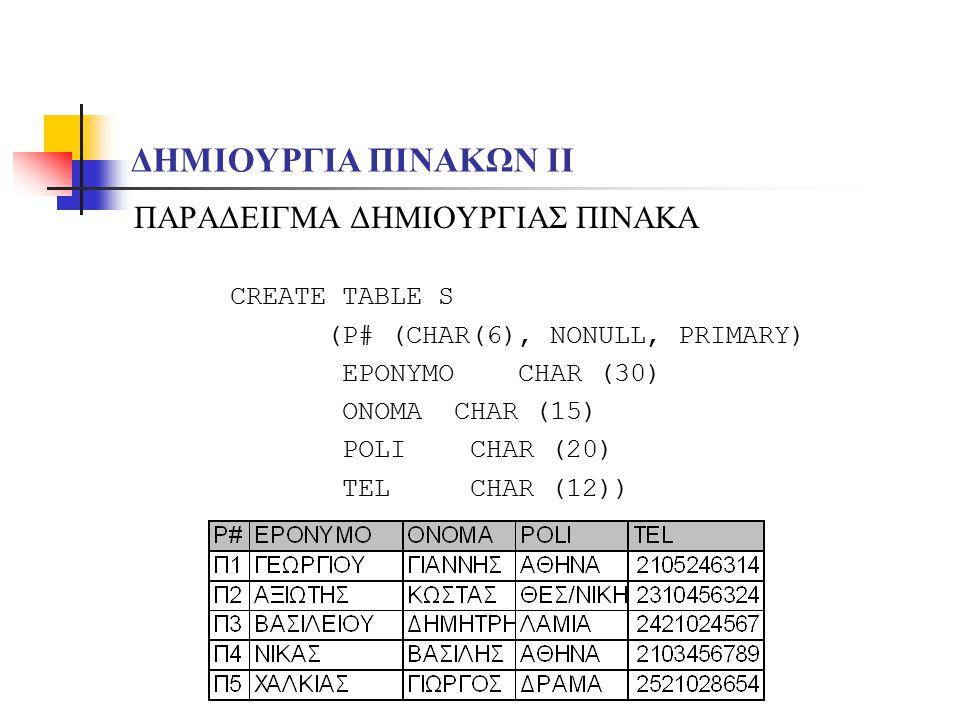 ΔΗΜΙΟΥΡΓΙΑ ΠΙΝΑΚΩΝ ΙI ΠΑΡΑΔΕΙΓΜΑ ΔΗΜΙΟΥΡΓΙΑΣ ΠΙΝΑΚΑ CREATE TABLE S (P# (CHAR(6), NONULL, PRIMARY) EPONYMO CHAR (30) ONOMA CHAR (15) POLI CHAR (20) TEL