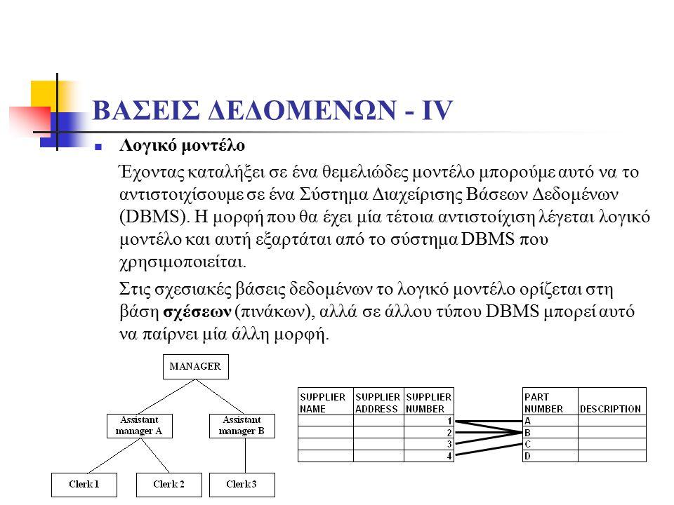 ΒΑΣΕΙΣ ΔΕΔΟΜΕΝΩΝ - ΙV Λογικό μοντέλο Έχοντας καταλήξει σε ένα θεμελιώδες μοντέλο μπορούμε αυτό να το αντιστοιχίσουμε σε ένα Σύστημα Διαχείρισης Βάσεων