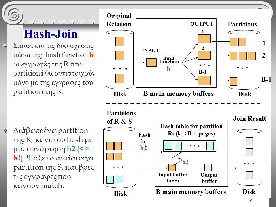 6 Hash-Join Σπάσε και τις δύο σχέσεις μέσω της hash function h: οι εγγραφές της R στο partition i θα αντιστοιχούν μόνο με της εγγραφές του partition i της S.