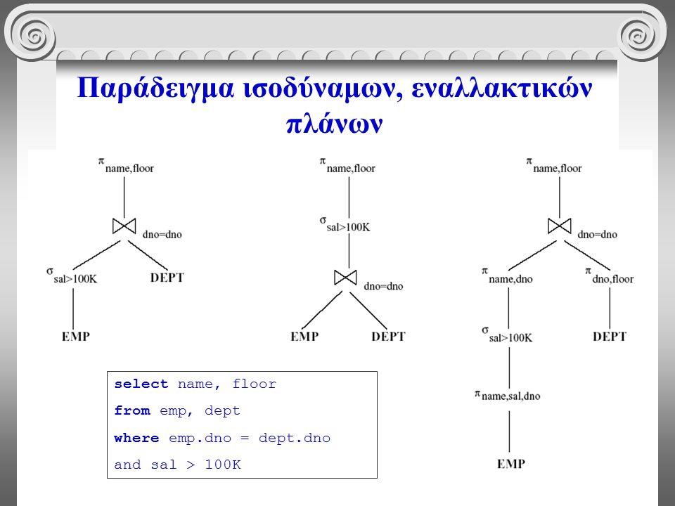7 Παράδειγμα ισοδύναμων, εναλλακτικών πλάνων select name, floor from emp, dept where emp.dno = dept.dno and sal > 100K