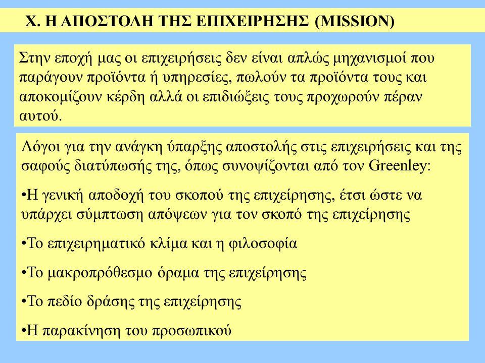 Χ. H AΠΟΣΤΟΛΗ ΤΗΣ ΕΠΙΧΕΙΡΗΣΗΣ (MISSION) Λόγοι για την ανάγκη ύπαρξης αποστολής στις επιχειρήσεις και της σαφούς διατύπωσής της, όπως συνοψίζονται από