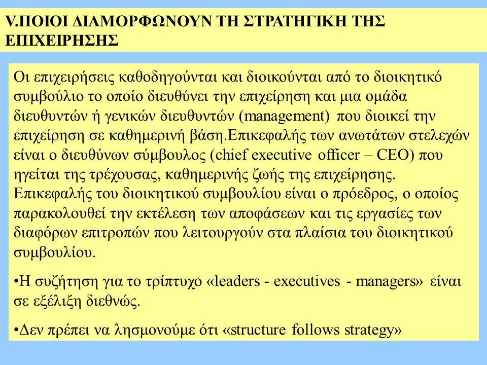 V.ΠΟΙΟΙ ΔΙΑΜΟΡΦΩΝΟΥΝ ΤΗ ΣΤΡΑΤΗΓΙΚΗ ΤΗΣ ΕΠΙΧΕΙΡΗΣΗΣ Οι επιχειρήσεις καθοδηγούνται και διοικούνται από το διοικητικό συμβούλιο το οποίο διευθύνει την επιχείρηση και μια ομάδα διευθυντών ή γενικών διευθυντών (management) που διοικεί την επιχείρηση σε καθημερινή βάση.Επικεφαλής των ανωτάτων στελεχών είναι ο διευθύνων σύμβουλος (chief executive officer – CEO) που ηγείται της τρέχουσας, καθημερινής ζωής της επιχείρησης.