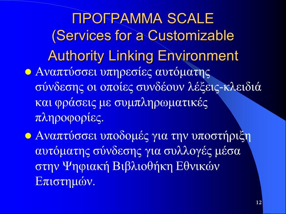 12 ΠΡΟΓΡΑΜΜΑ SCALE (Services for a Customizable Authority Linking Environment Αναπτύσσει υπηρεσίες αυτόματης σύνδεσης οι οποίες συνδέουν λέξεις-κλειδιά και φράσεις με συμπληρωματικές πληροφορίες.