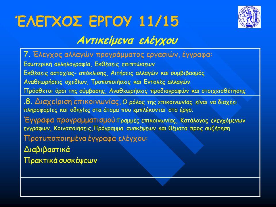 ΈΛΕΓΧΟΣ ΕΡΓΟΥ 11/15 Αντικείμενα ελέγχου 7. Έλεγχος αλλαγών προγράμματος εργασιών, έγγραφα: Εσωτερική αλληλογραφία, Εκθέσεις επιπτώσεων Εκθέσεις αστοχί