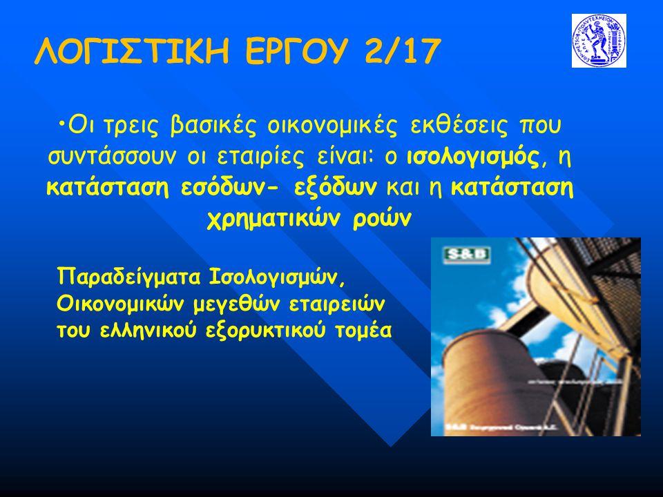 ΛΟΓΙΣΤΙΚΗ ΕΡΓΟΥ 2/17 Παραδείγματα Ισολογισμών, Οικονομικών μεγεθών εταιρειών του ελληνικού εξορυκτικού τομέα Οι τρεις βασικές οικονομικές εκθέσεις που