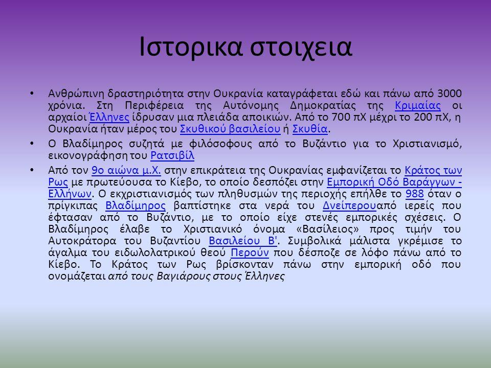 Ιστορικα στοιχεια Ανθρώπινη δραστηριότητα στην Ουκρανία καταγράφεται εδώ και πάνω από 3000 χρόνια.