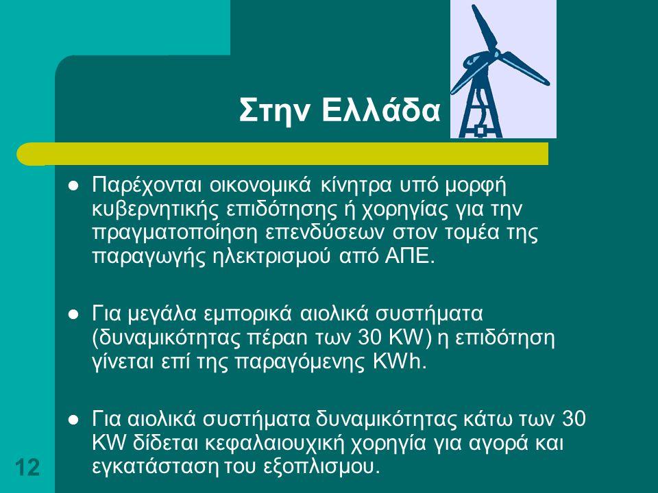 12 Στην Ελλάδα Παρέχονται οικονομικά κίνητρα υπό μορφή κυβερνητικής επιδότησης ή χορηγίας για την πραγματοποίηση επενδύσεων στον τομέα της παραγωγής η