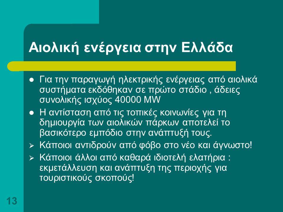 13 Αιολική ενέργεια στην Ελλάδα Για την παραγωγή ηλεκτρικής ενέργειας από αιολικά συστήματα εκδόθηκαν σε πρώτο στάδιο, άδειες συνολικής ισχύος 40000 M