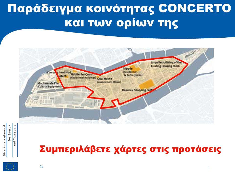 | 24 Παράδειγμα κοινότητας CONCERTO και των ορίων της Συμπεριλάβετε χάρτες στις προτάσεις