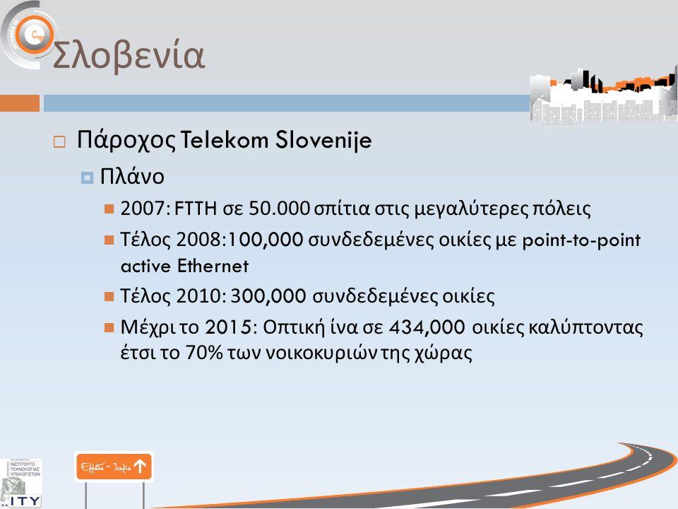 Σλοβενία  Πάροχος Telekom Slovenije  Πλάνο 2007: FTTH σε 50.000 σπίτια στις μεγαλύτερες πόλεις Τέλος 2008:100,000 συνδεδεμένες οικίες με point-to-point active Ethernet Τέλος 2010: 300,000 συνδεδεμένες οικίες Μέχρι το 2015: Οπτική ίνα σε 434,000 οικίες καλύπτοντας έτσι το 70% των νοικοκυριών της χώρας