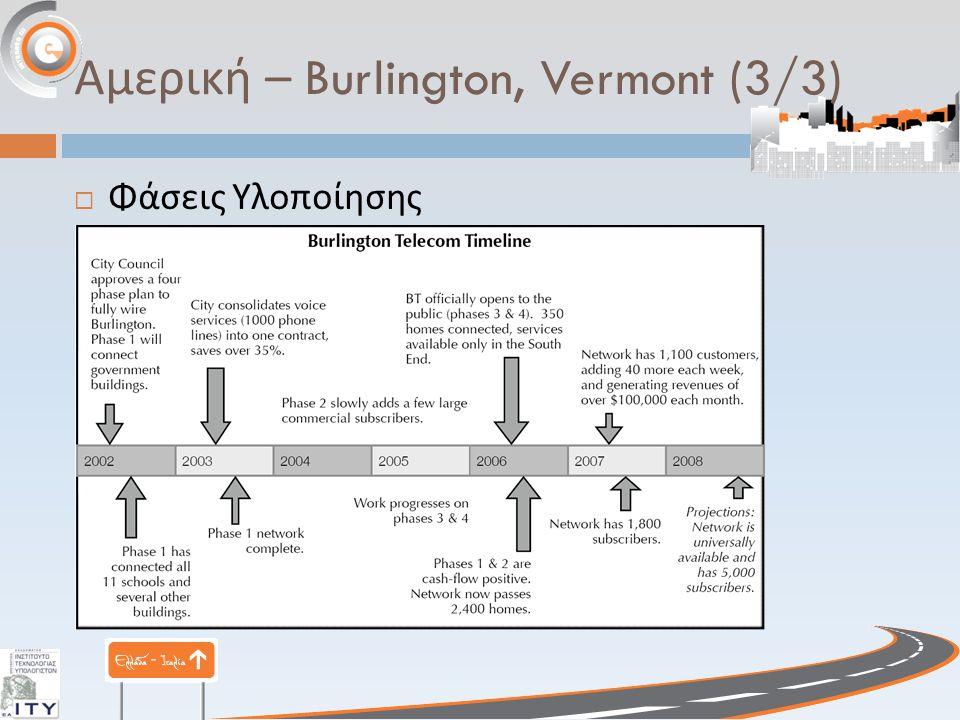 Αμερική – Burlington, Vermont (3/3)  Φάσεις Υλοποίησης