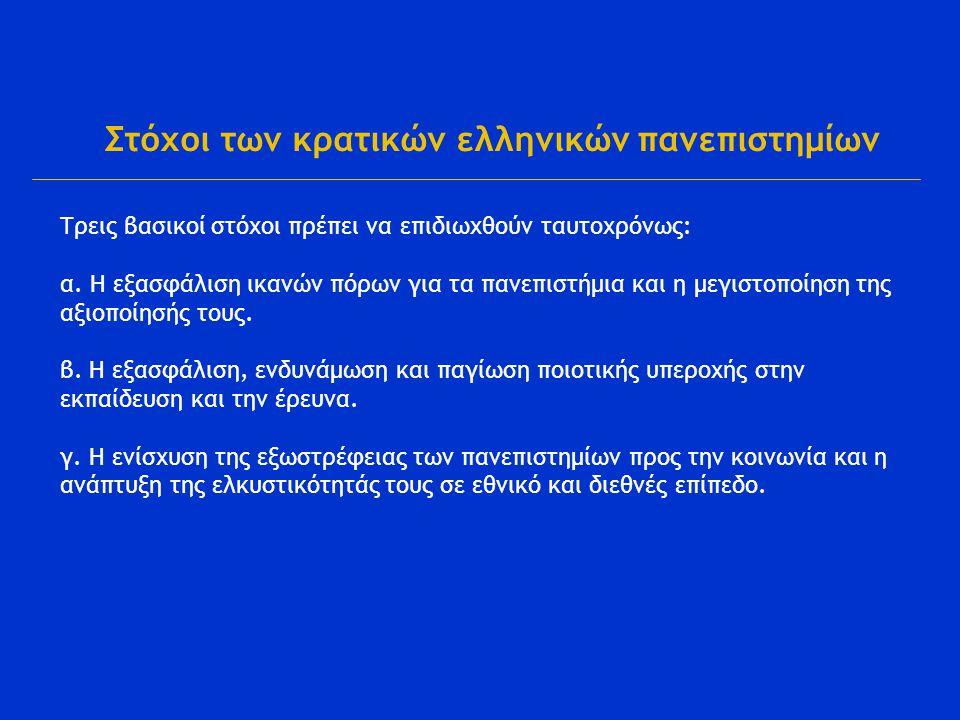 Στόχοι των κρατικών ελληνικών πανεπιστημίων Τρεις βασικοί στόχοι πρέπει να επιδιωχθούν ταυτοχρόνως: α.