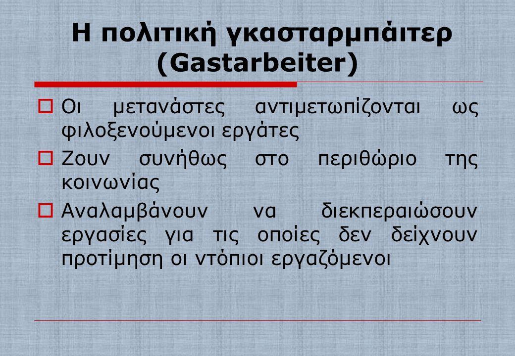 ΜΕΤΑΝΑΣΤΕΥΤΙΚΕΣ ΠΟΛΙΤΙΚΕΣ ΤΗΣ Ε.Ε.  Η πολιτική γκασταρμπάιτερ (Gastarbeiter)  Η πολιτική της αφομοίωσης  Η πολιτική της ένταξης